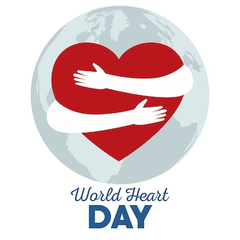 World heart day with hands hugging heart and planet earth.