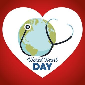 Всемирный день сердца со стетоскопом и землей. Premium векторы