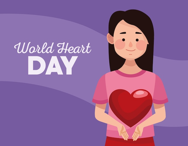 Всемирный день сердца с сердцем женщины поднимаясь.