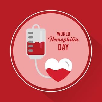 World hemophilia day heart blood bag