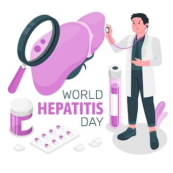 Illustrazione di concetto di giornata mondiale dell'epatite