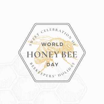 World honey bee day badge or logo template.