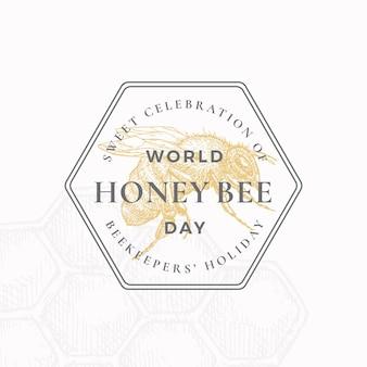World honey bee day badge or logo template. Premium Vector