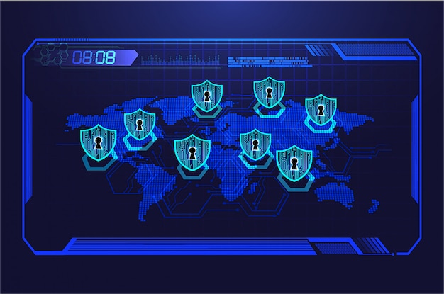 World hud, closed padlock on digital background, cyber security