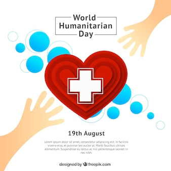 World humanitarian day background with hands and heart