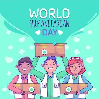 Illustrazione della giornata mondiale umanitaria Vettore gratuito