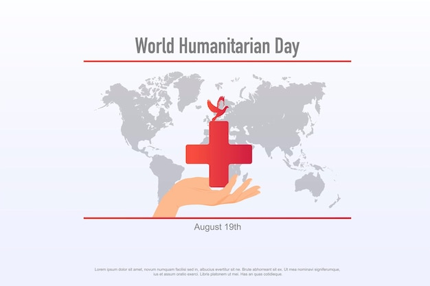 World humanitarian day observed each year on august 19th worldwide banner template  care help