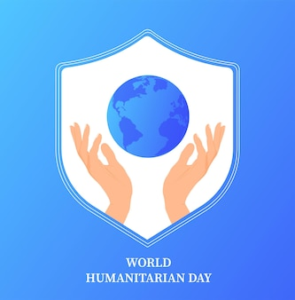 毎年8月19日に行われる世界人道の日世界的なバナーテンプレートケアヘルプ