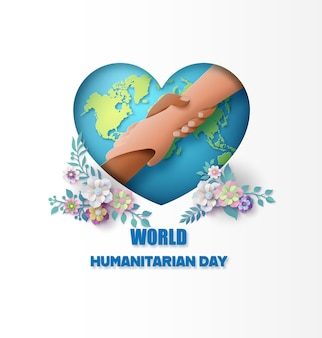 World humanitarian day,paper collage and paper cut style with digital craft .