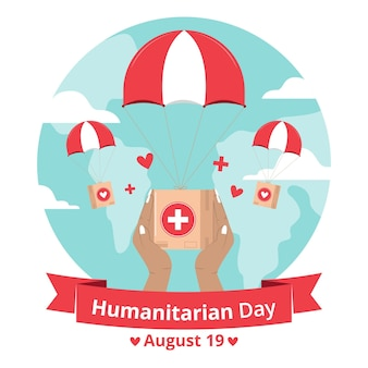World humanitarian day with aid and parachute