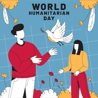 World humanitarian day with bird and people