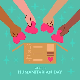 World humanitarian day with hands and hearts