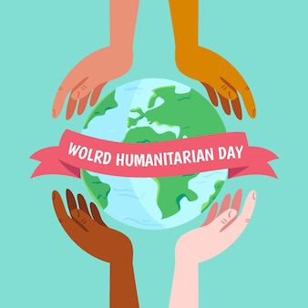 World humanitarian day with hands and planet