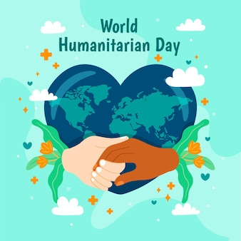 World humanitarian day with heart-shaped earth and hands