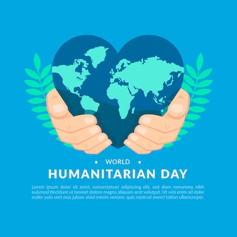 World humanitarian day with heart-shaped earth