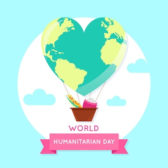 World humanitarian day with heart-shaped planet air balloon