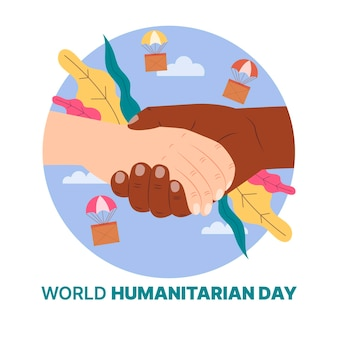 World humanitarian day with holding hands