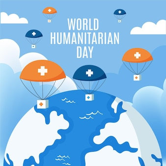 World humanitarian day with planet earth