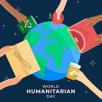 Giornata mondiale umanitaria con il pianeta e le mani