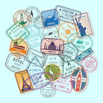 World immigration and post stamp sand marks gathered in pile illustration