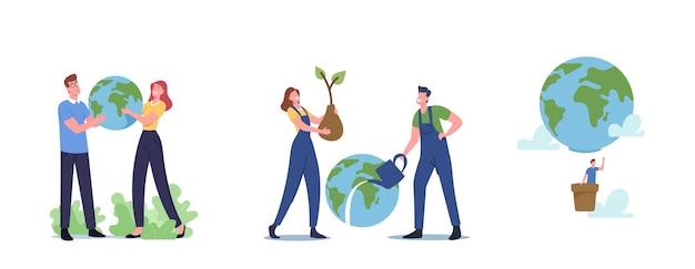 손에 세계, 행성 개념을 저장합니다. 흰색 배경에 고립 된 지구 글로브를 들고 남성과 여성의 캐릭터. 생태 보존, 지구의 날 축하. 만화 사람들 벡터 일러스트 레이 션
