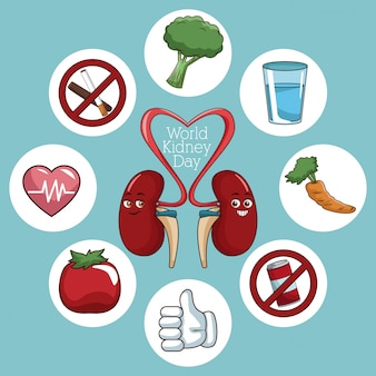 World kidney day icons