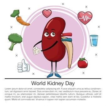World kidney day infographic cartoon