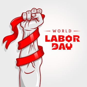 World labor day with ribbon in hand