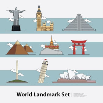 The world landmark travel illustration set