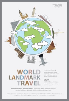 The world landmark travel poster illustration