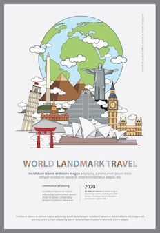The world landmark travel poster template