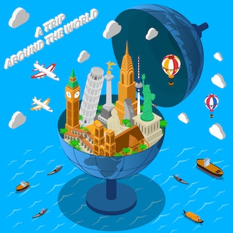World landmarks in globe background
