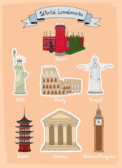 World landmarks hand-drawn icon set