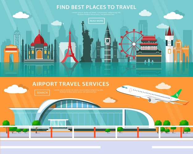 Достопримечательности мира, места для путешествий и обслуживание в аэропорту с плоскими элементами.