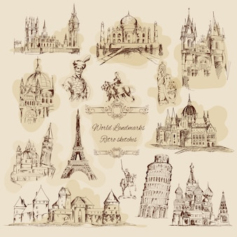World landmarks sketch vintage icons set