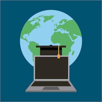 World laptop graduation cap learning online education