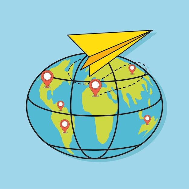 세계 위치 포인터 연결 평면