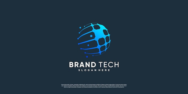 World logo with technology concept premium vector