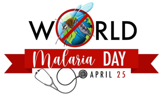 World malaria day banner with mosquito sign