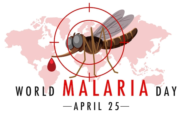 World malaria day logo or banner with mosquito on world map