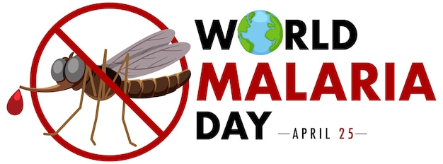 World malaria day logo or banner with no mosquito sign