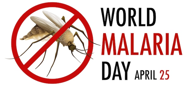 世界マラリアデーのロゴまたは蚊のサインのバナー