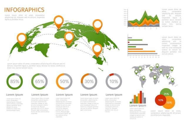 インフォグラフィック要素のセットを使用した世界地図3d。設計情報、ビジネスグラフおよびチャート。