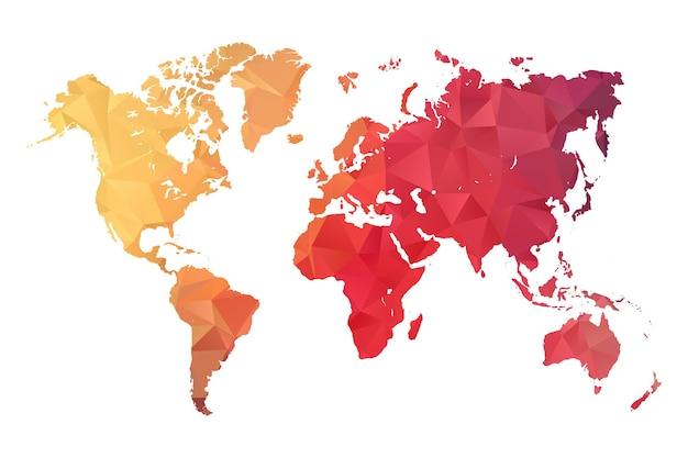 世界地図-白い背景の上の抽象的な幾何学的なしわくちゃの三角形の低ポリグラデーショングラフィック