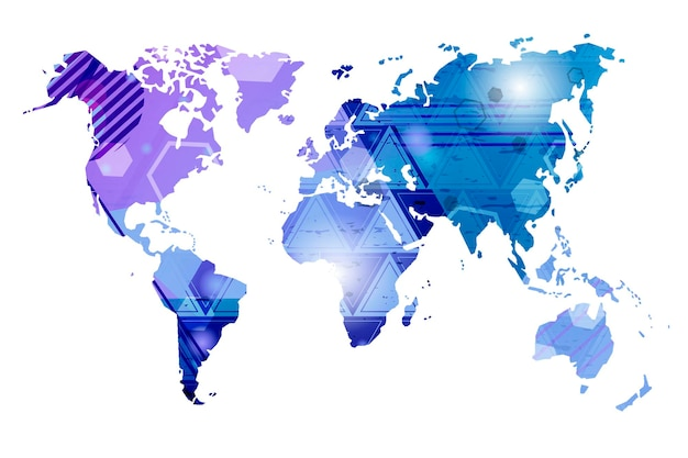 世界地図。抽象的なベクトルマップ