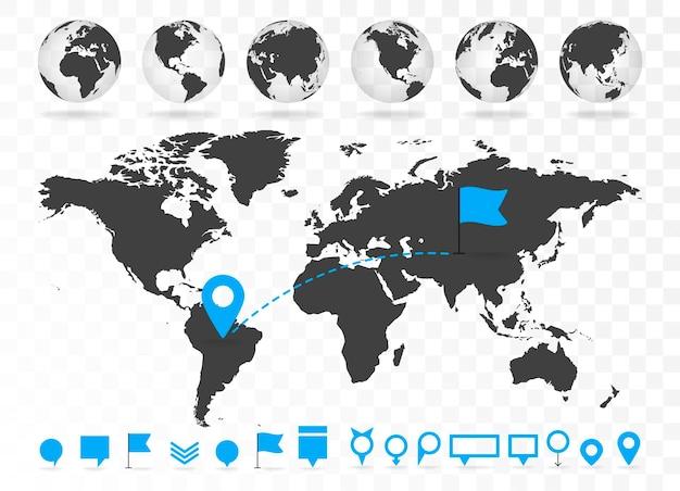 세계 지도 및 3d 글로브는 인포그래픽 요소로 설정됩니다. 디자인 정보, 비즈니스 그래프 및 차트. 벡터 일러스트 레이 션
