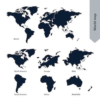 世界地図と大陸
