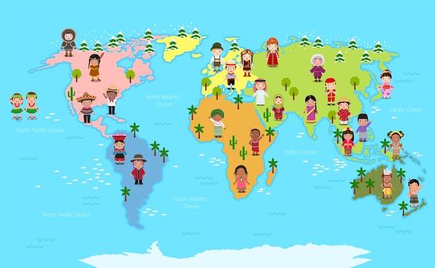 세계지도와 다양한 국적의 아이들