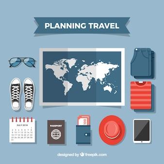 平らなデザインの世界地図と旅行要素