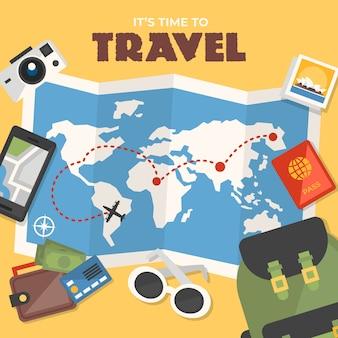 世界地図と旅行フラットデザインの要素